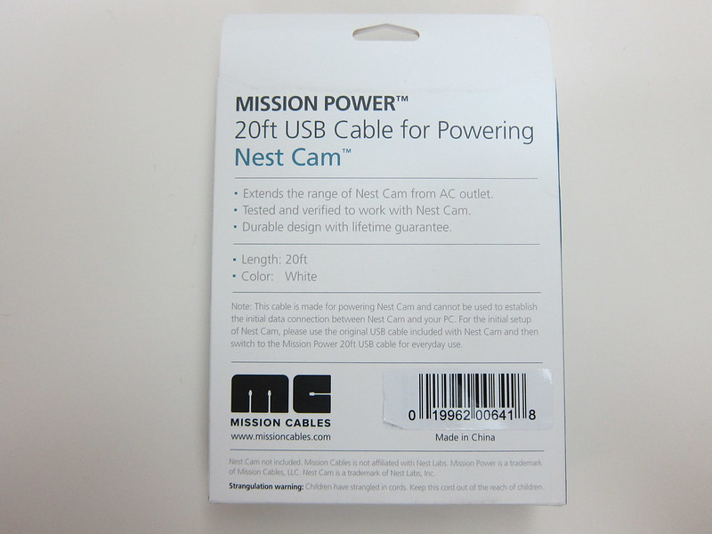 20ft (6m) USB Power Cable for Nest Cam - Box Back