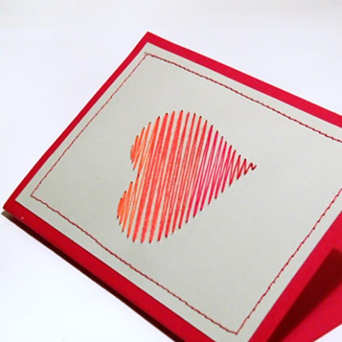 Paper Stitched Heart Card
