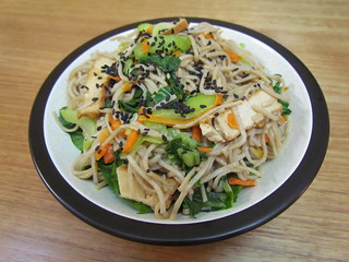 Soba Noodles with Asian Greens and Slivers of Tofu