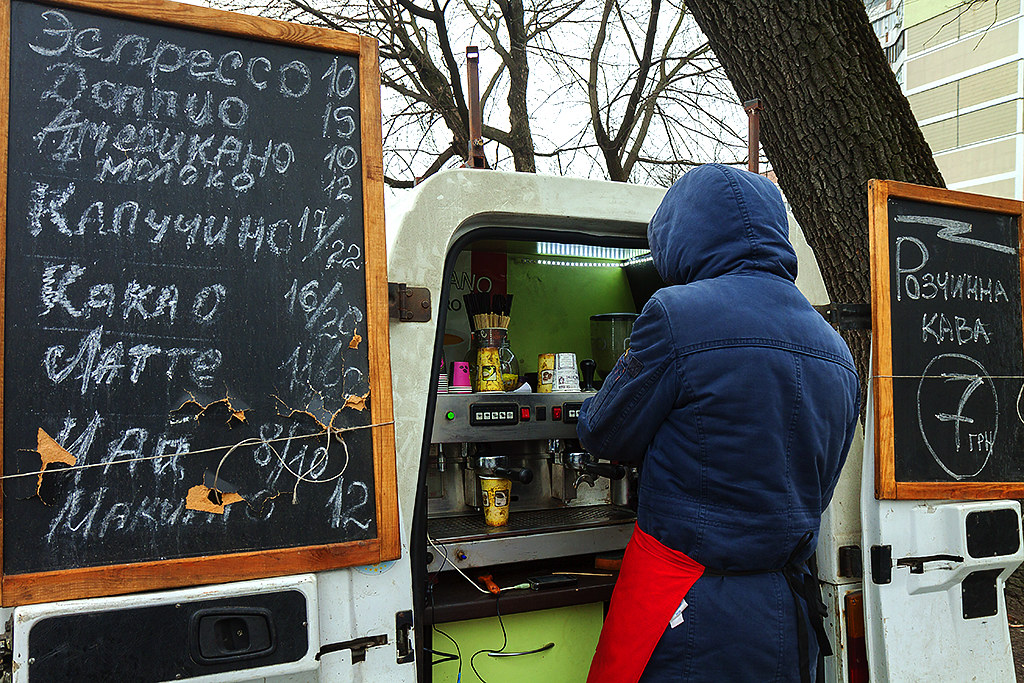 Coffee seller in Svyatoshyns'kyi District--Kiev