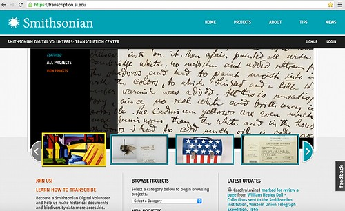 Smithsonian transcription site