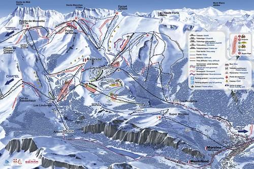 Avoriaz / Portes du Soleil - mapa sjezdovek