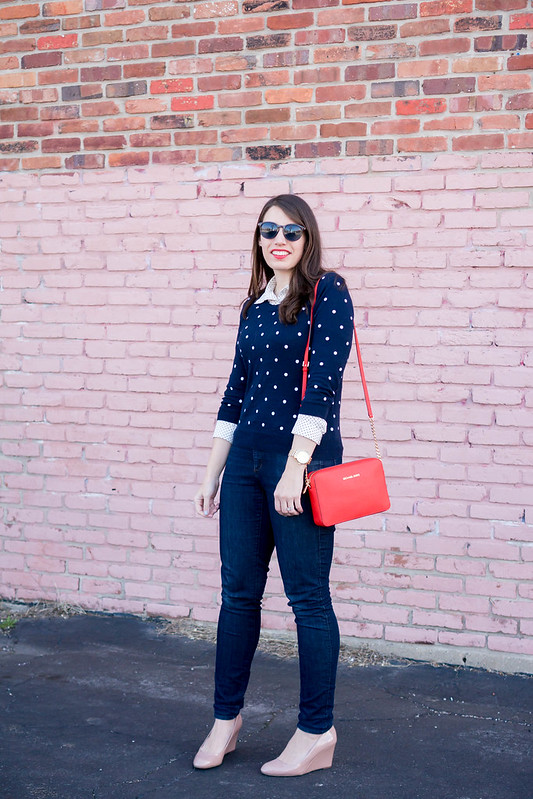 polka dot sweater + polka dot blouse + jeans + red crossbody purse | Style On Target