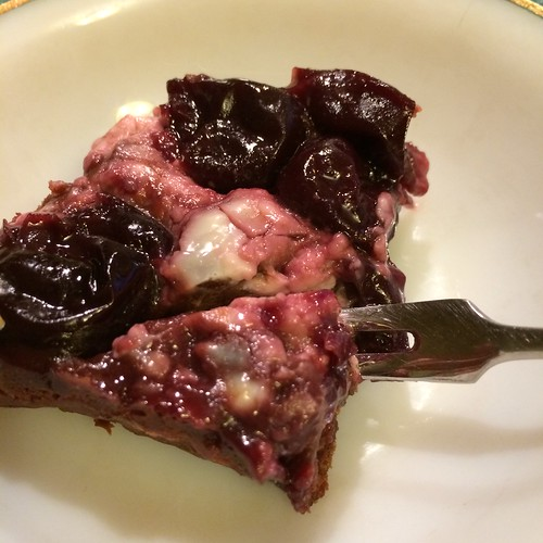 Chocolate cake with cherries and cream cheese