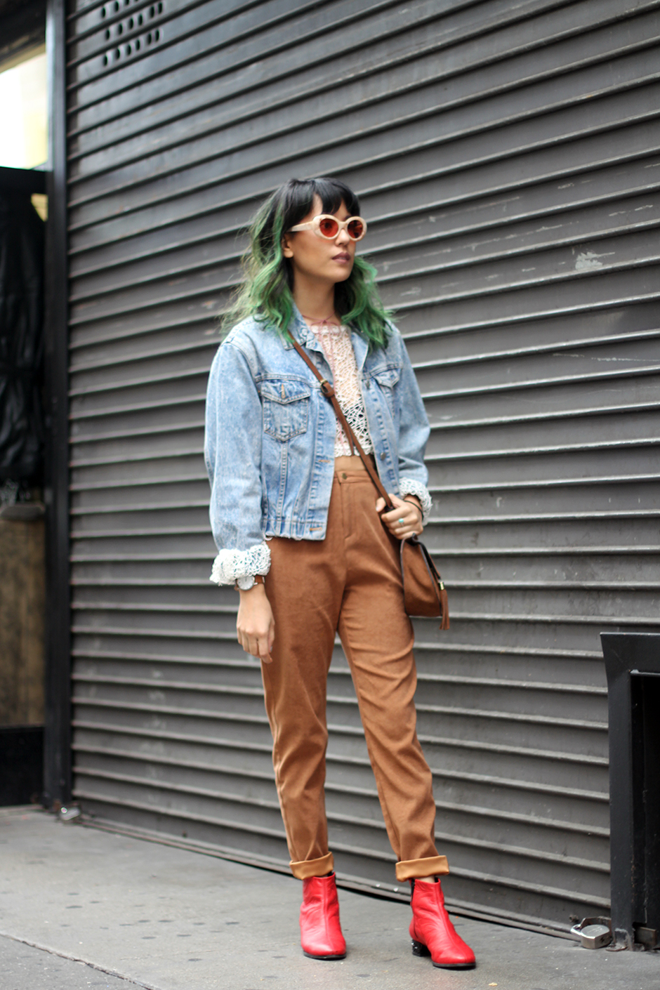 Denim jacket, brown high waist trouser pants, red boots, Acne Studios Mustang Pink sunglasses, green hair