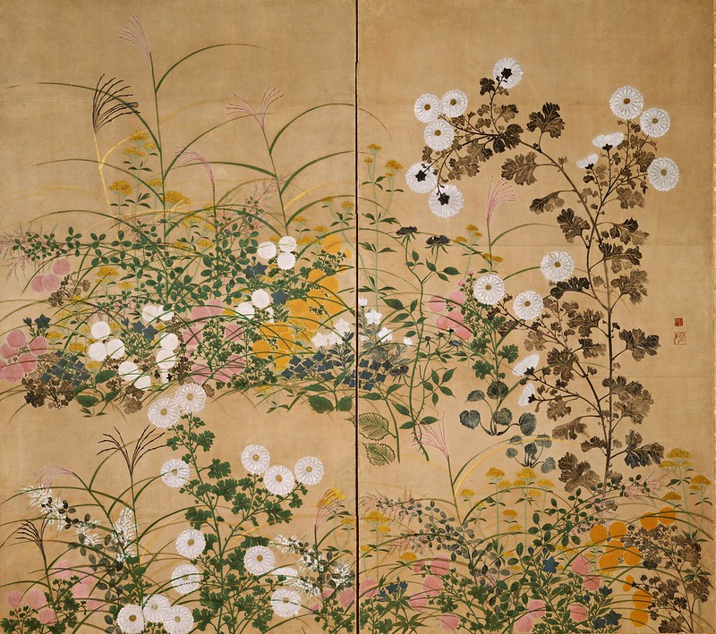Attributed to Ogata Korin - Important Art Object Flowering Plants in Autumn