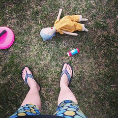 Lularoe leggings, toes I haven't even had time to polish yet, a handmade gifted doll that Claire loves, bubbles, Velcro ball toss game. #liferightnow #spring