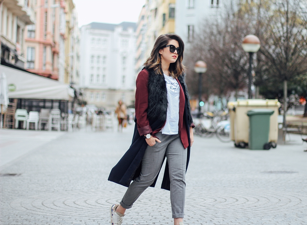 isabel marant sneakers with faux fur vest and red blazer streetstyle grey pants myblueberrynightsblog