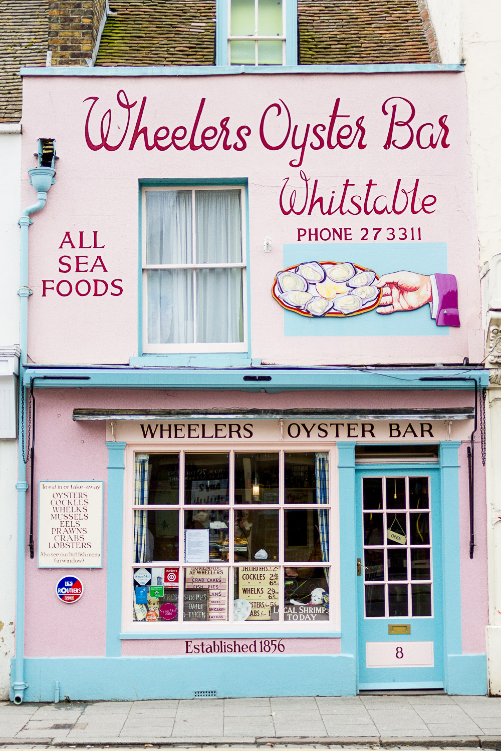 wheelers Oyster Bar pink and blue front