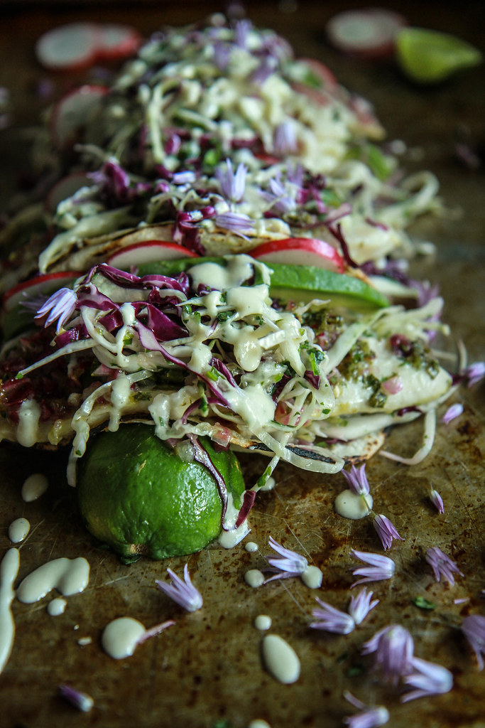 Citrus Grilled Fish Tacos with Citrus Slaw and Creamy Orange Cashew Sauce from Heather Christo