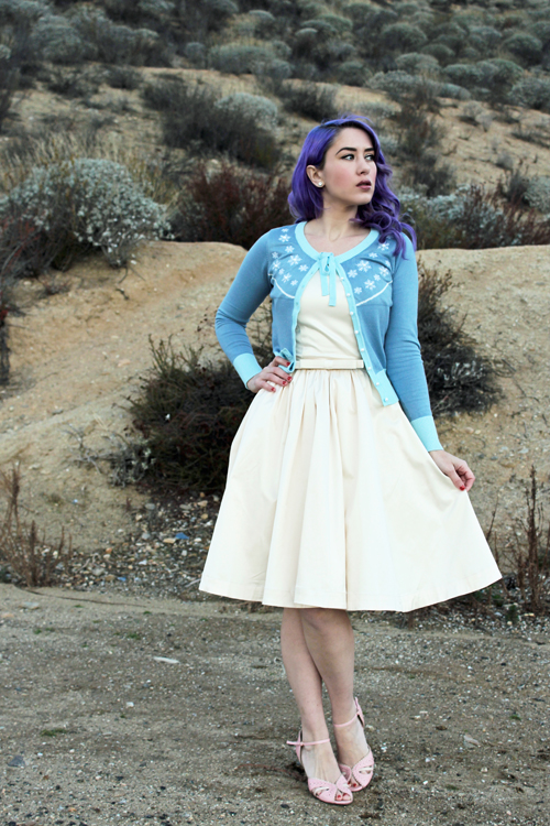Trashy Diva Candice Gwinn Annette Bow Dress in Antique White Satin Voodoo Vixen Brooke Cardigan