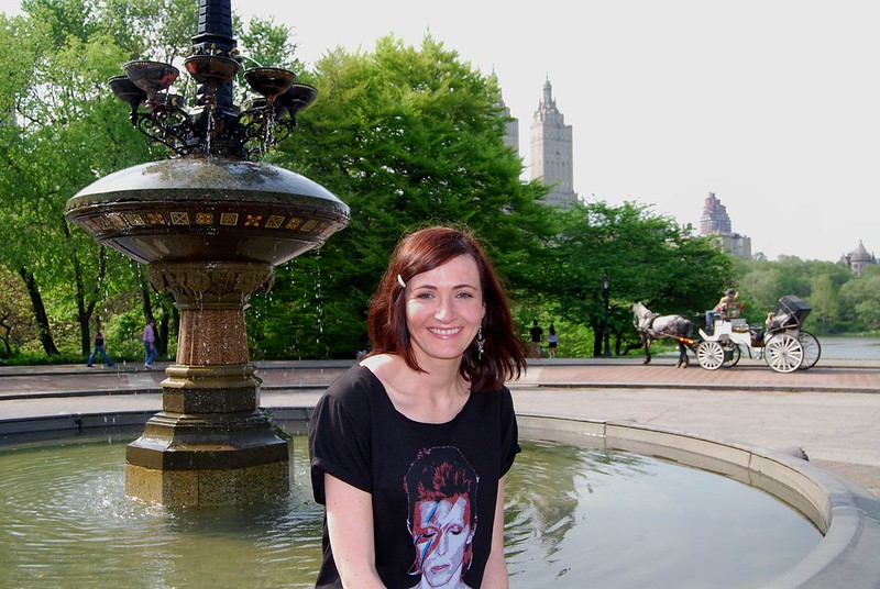 Wearing a David Bowie t-shirt in New York