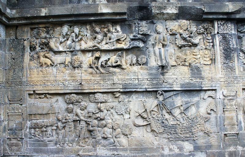 Borobudur, Yogyakarta - carving Borobudur ship