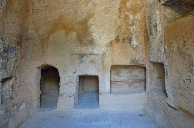 The interieur of tomb No 1, semi-subterranean chamber tomb cut into the natural limestone, Tombs of the Kings, Kato Pafos, Paphos, Cyprus