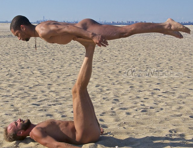 naturist acro-yoga 0002 Gunnison Beach, Sandy Hook, NJ, USA