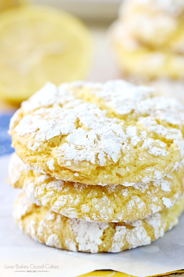 These Lemon Crinkle Cookies are so easy and they only have 4 ingredients! They will remind you of sunshine and warmer days!
