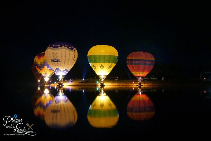 singha park international hot air balloon festival night lake side balloons complete
