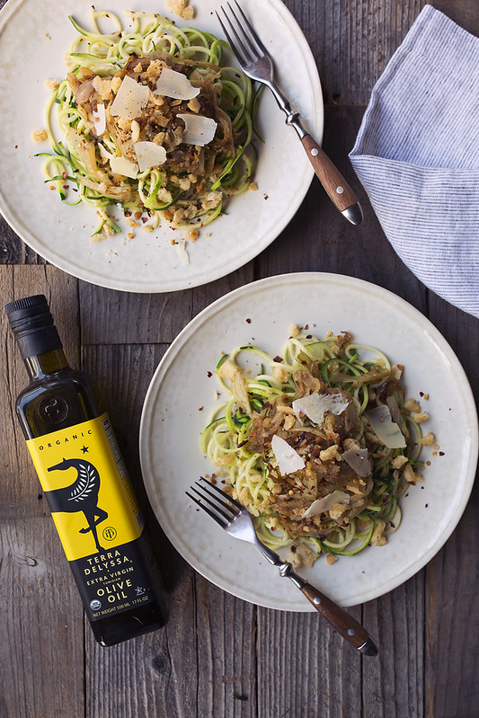 Zucchini Noodles with Caramelized Fennel and Spicy Sourdough Breadcrumbs