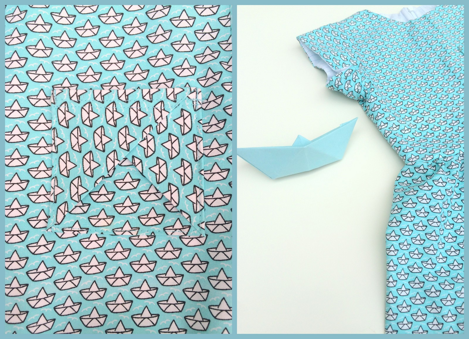 paper boat dress (collage)
