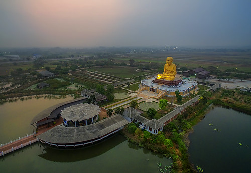 morning sunrise thailand temple dawn aerial wat aerialphotography drone angthong