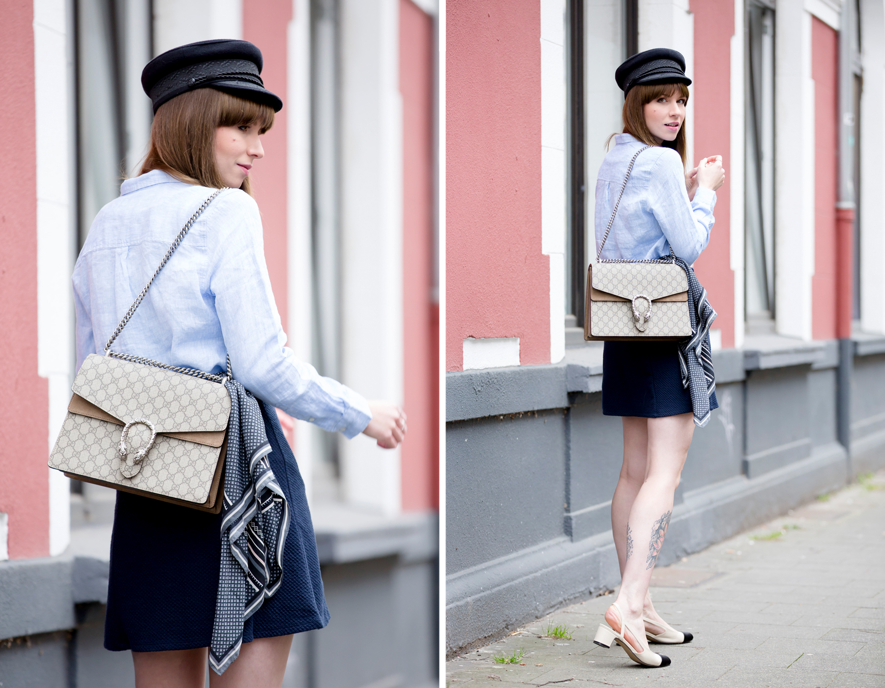 sailor blue french parisienne outfit gucci dionysus chanel luxury fashion blogger modeblogger deutschland hat cute bangs brunette ootd outfit look lookbook cats & dogs ricarda schernus blog 5