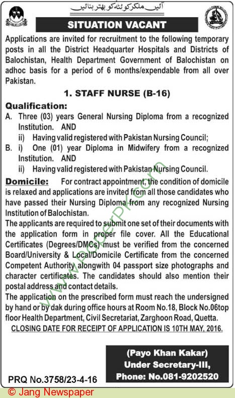 Health Department Quetta Jobs 2016