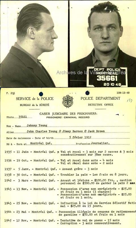 Fiche de Johnny Young, arrêté par la police pour de multiples infractions. 1935-1945. P43-3-2_V42_E611-E687. Archives de la Ville de Montréal.