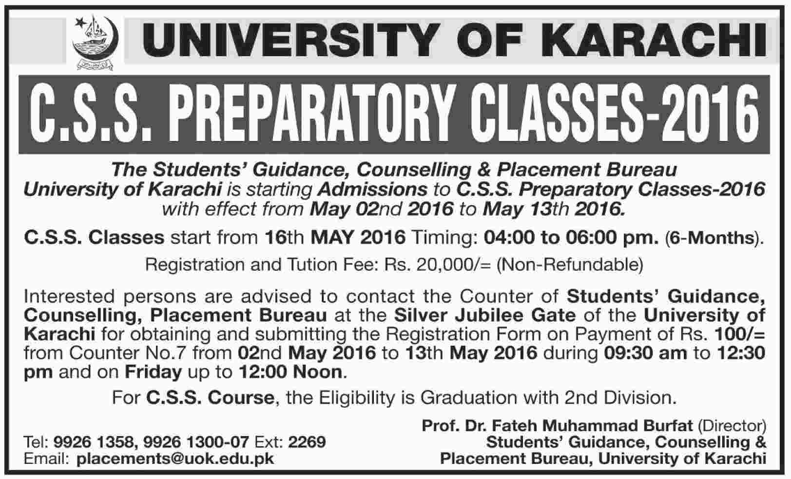 University of Karachi CSS Preparatory Classes