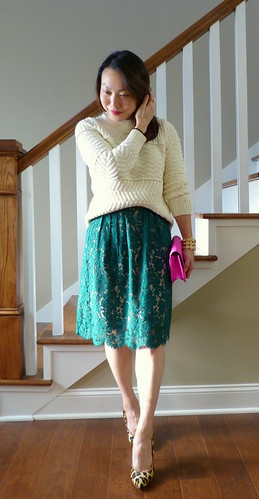 green lace, ivory knits
