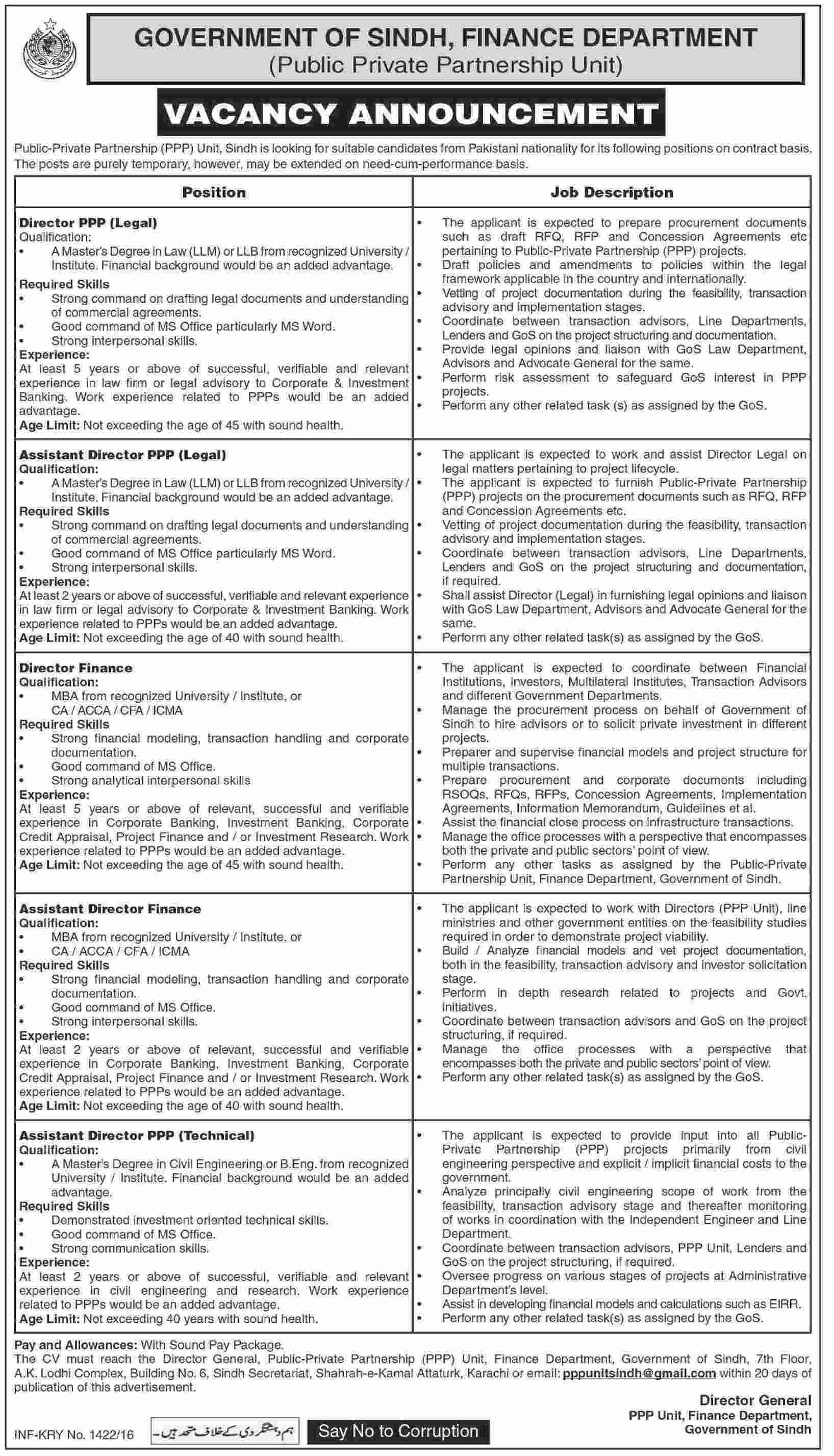 Government of Sindh Finance Department Jobs 2016