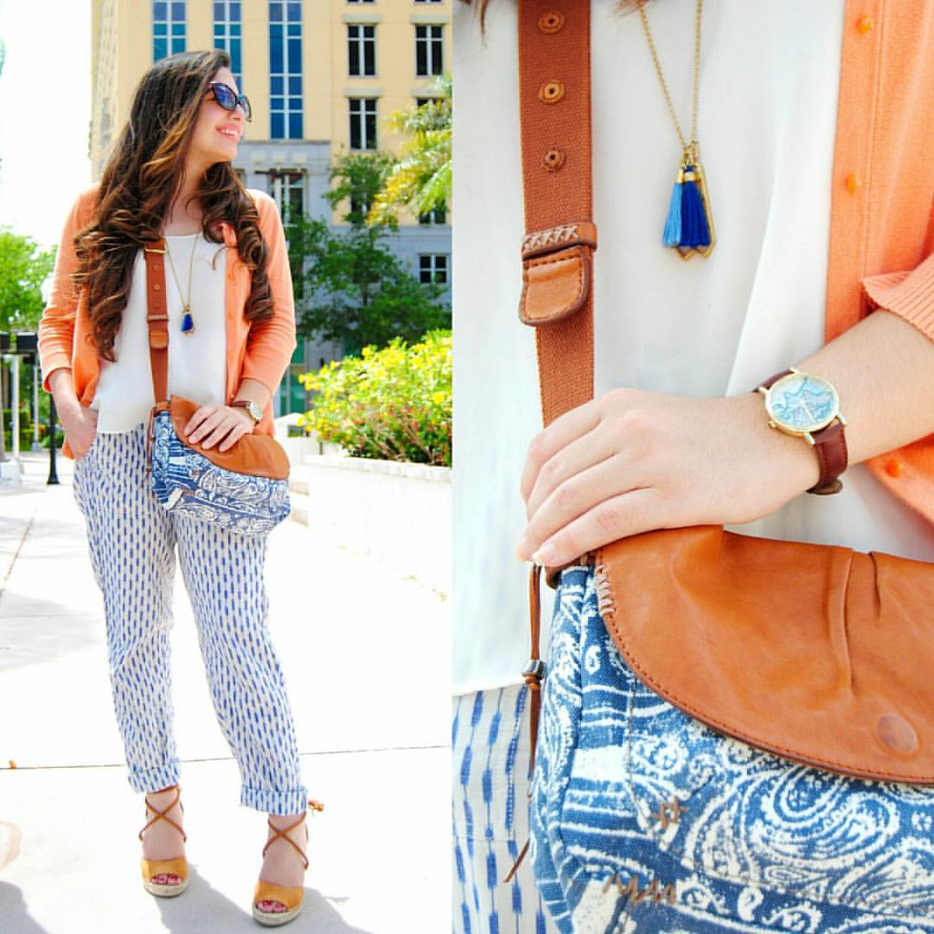 Really loving this print on print + blue and orange combo! Definitely my favorite outfit this month. #Earnestyle  P.S. I've had this cardigan for 7 years now! Good ol' @targetstyle. 😊 Everything in this outfit is at least 2 years old except the shoe