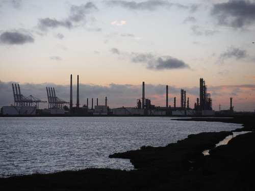 Coryton Oil Refinery and DP World's London Gateway Port, Shell Haven, from Canvey Island