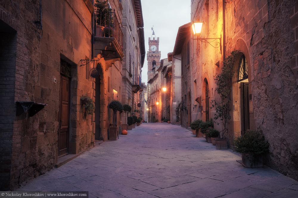 Old European street after dark