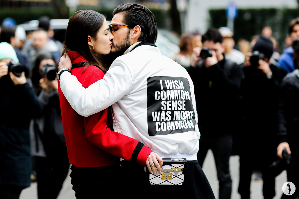 Patricia Manfield and Giotto Calendoli at Milan Fashion Week