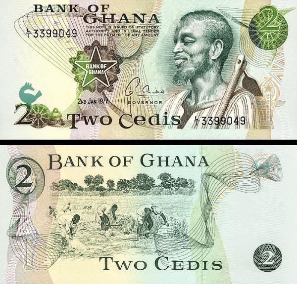 2 Cedis Ghana 1977, P14c UNC