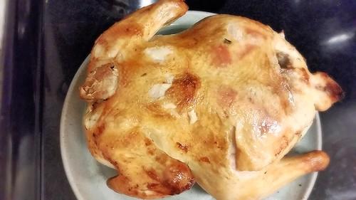 Zuni chicken (breast side down)