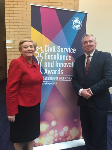 Minister Fitzgerald and Secretary General Noel Waters at the Civil Service Excellence and Innovation Awards ceremony - 12 January 2016