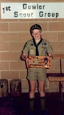 Nick Cooper [Sixer Black Six] with trophy for best Six December 1987