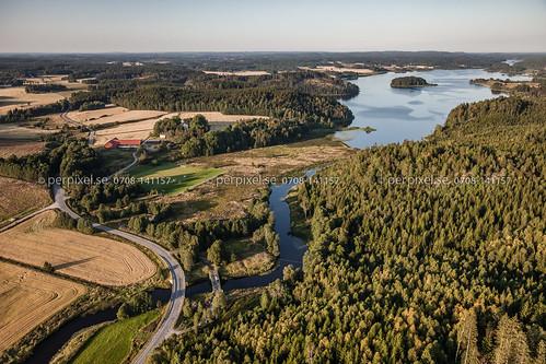 3 natur sverige bro swe ödeborg västragötaland flygfoto valboån ellenösjön torsbyn