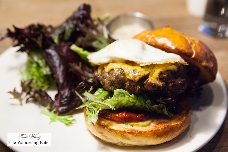 Cheeseburger with an over easy egg on top
