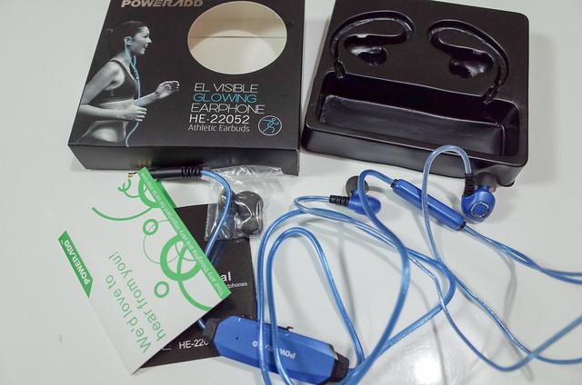 Poweradd スポーツイヤホン ステレオインサイドホン 防汗 高音質 マイク付き 光る