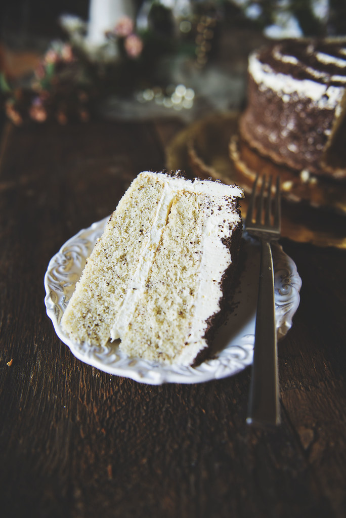 Homemade Hazelnut Cake with Marshmallow Frosting