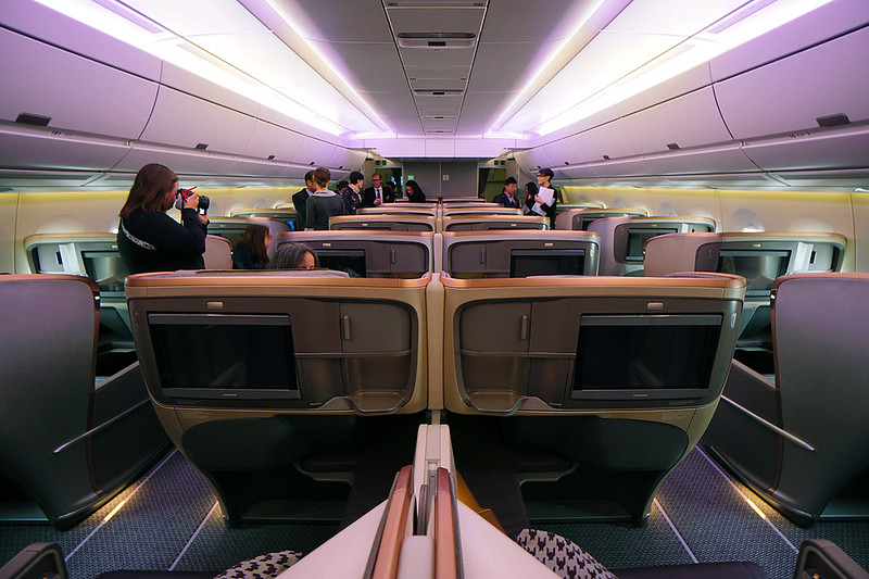 Business class on board Singapore Airlines' first Airbus A350 XWB