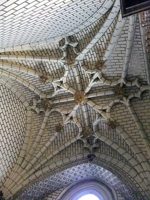 The vaulted Gothic ceiling of Toledo Cathedral