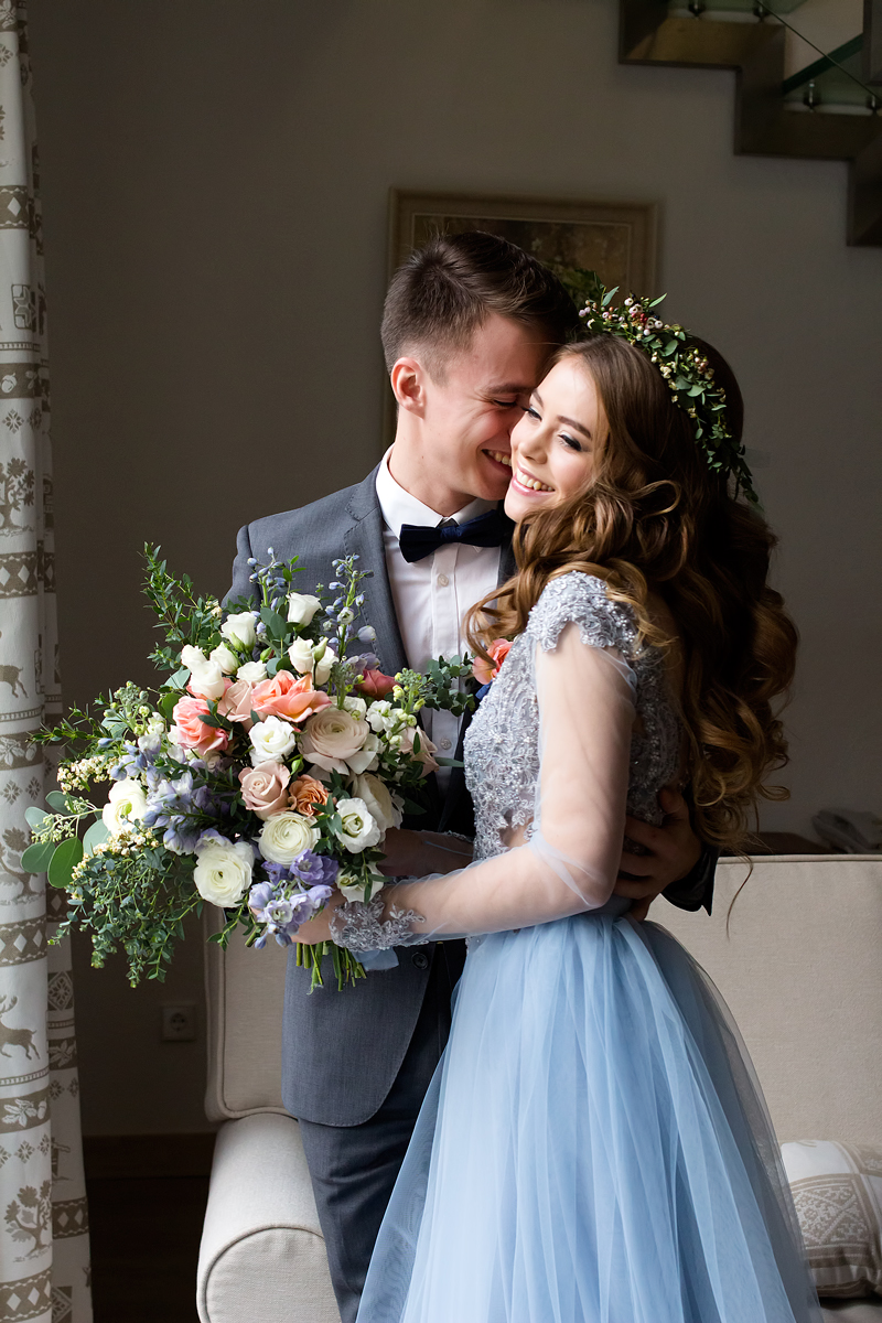 blue lace wedding gown for winter wedding
