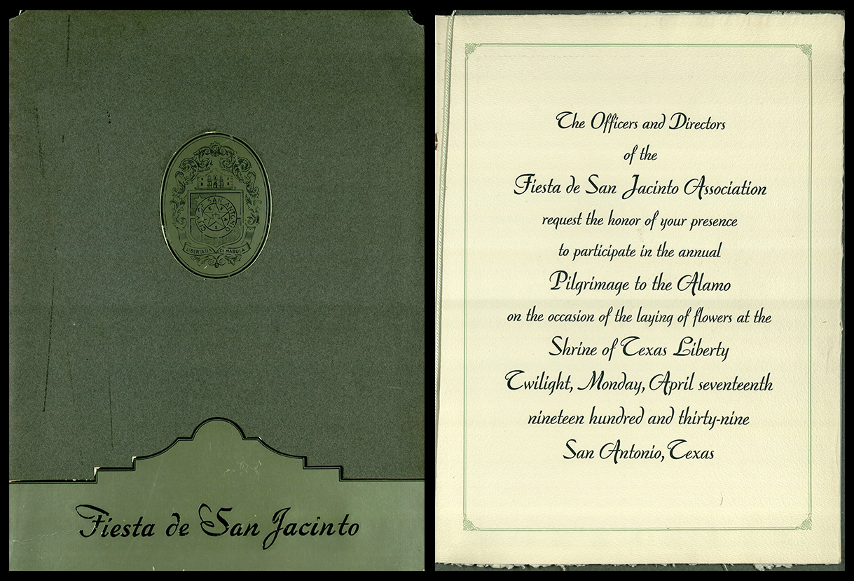 Fiesta de San Jacinto Association. An Invitation. San Antonio, TX: The Association, 1939.