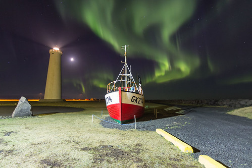 Aurora at the Gardur Lighthouse