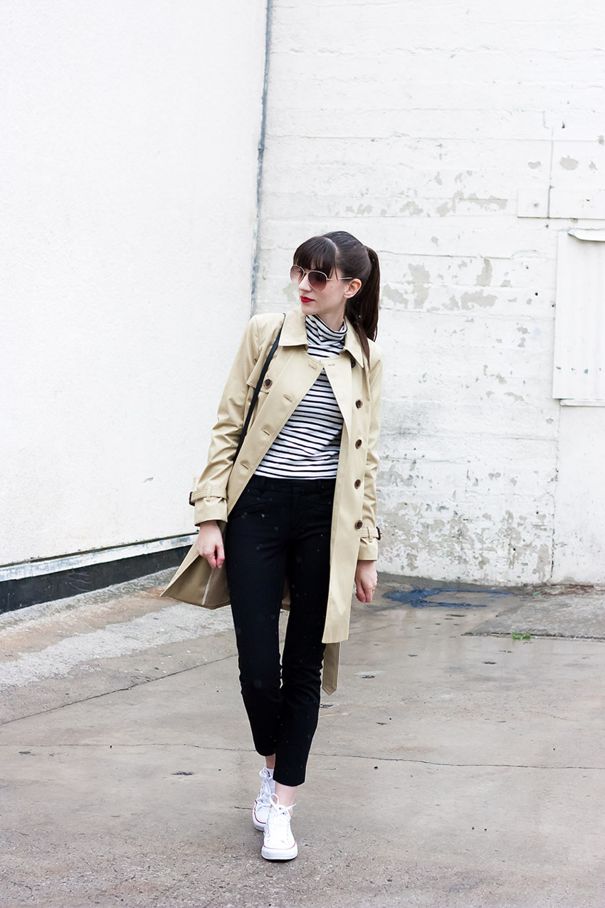 J.Crew Trench Coat, Black and White outfit