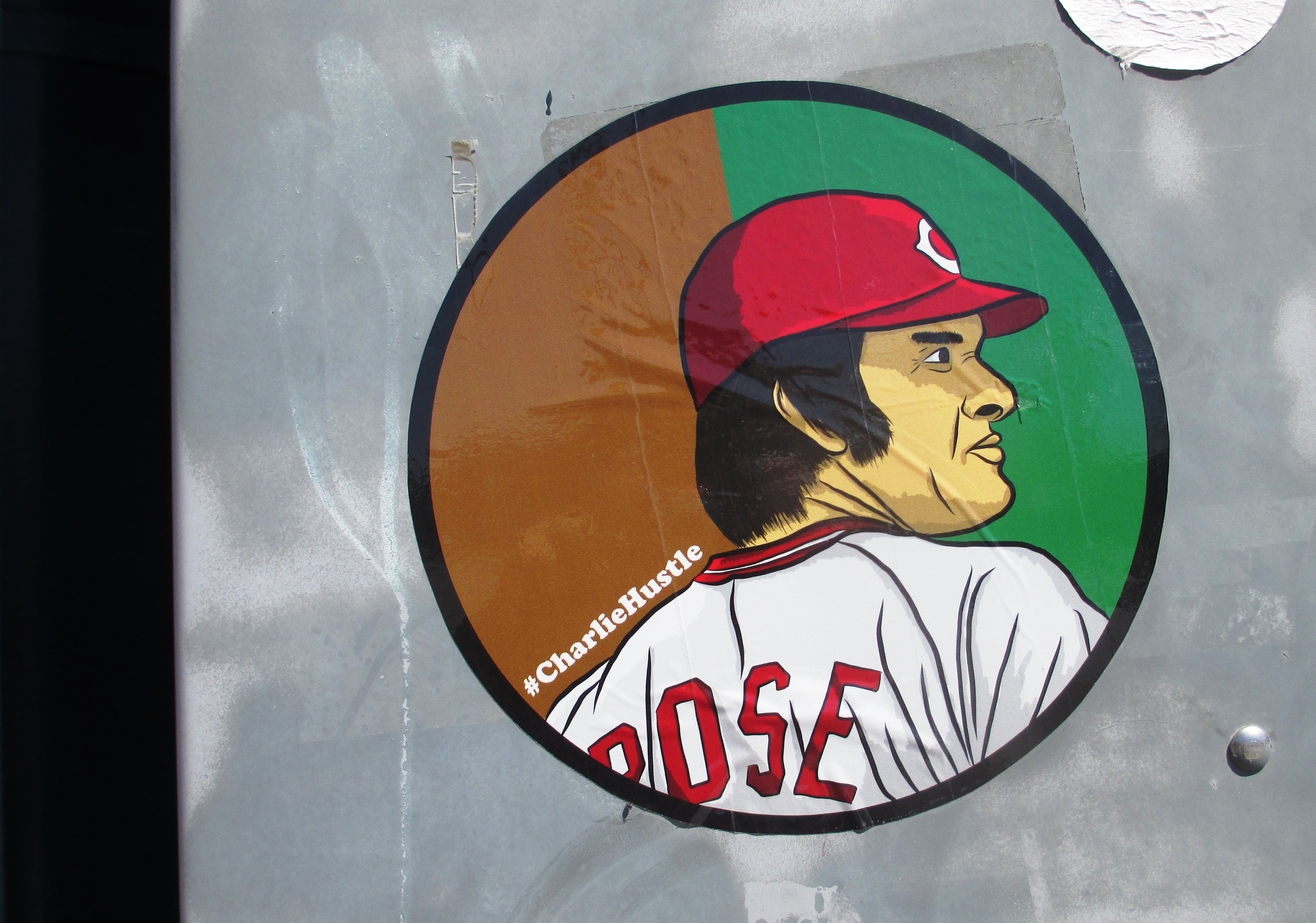 Pete Rose Sticker Spotted in Cincinnati, Ohio, April 2016