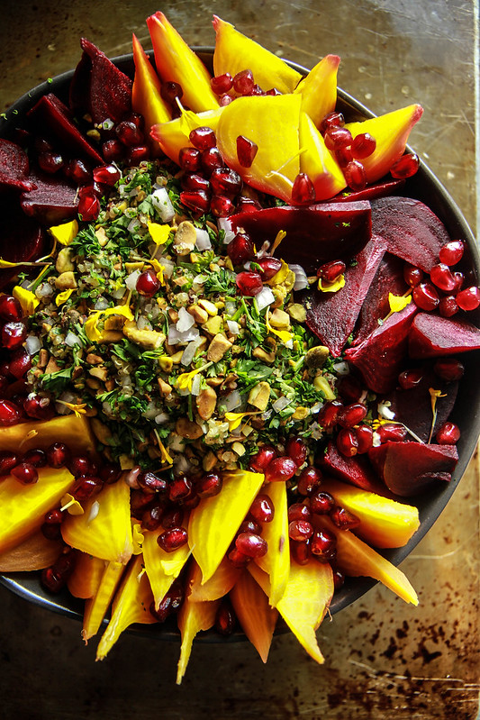 Beet Quinoa Salad with mint, pomegranate and pistachios from HeatherChristo.com